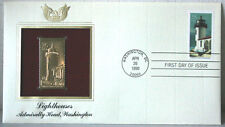Lighthouses Admiralty Head, Washington FDC 22kt Gold Replica Stamp #169