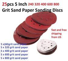 25pcs 5 Inch 240 320 400 600 800 Grit Sand Paper Sanding Discs