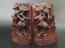 More details for chinese carved wood bookends cranes under a bush 19th century