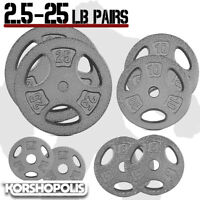 """Standard Weight Plate PAIRS 1"""" Hole Home Gym Exercise Strength Grip Weights NEW"""