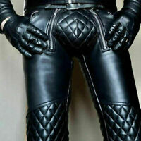 Men's Real Leather Pants Punk Kink Jeans Trousers BLUF Pants Bikers Kink