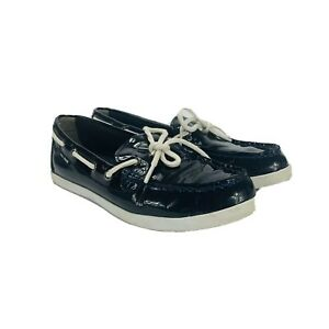 Cole Haan Women's Navy Blue Patent Leather Boat Shoes Driving Sz. 7.5 B