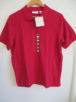CROFT & BARROW womens red polo shirt L LARGE short sleeve knit top 100% COTTON