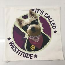 Westitude 100% Cotton Cushion Cover souvenir Westie dog west highland terrier