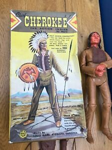 Vintage 1st Issue? Louis Marx Swansea Chief Cherokee Indian Figure Original Box