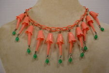 Vintage Celluloid Chain Salmon Pink Dangles & Green Beads Necklace Choker