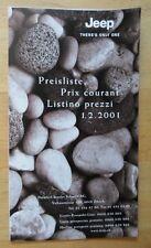 JEEP RANGE 2001 Swiss Mkt Price List Brochure - Wrangler Grand Cherokee