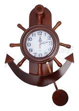 Horloge-pendule avec balancier ancre et barre à roue décoration style marin neuf