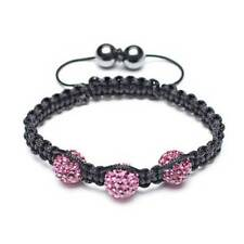 Fuchsia Pink Pave Crystal Ball Shamballa Inspired Bracelet Black Cord String