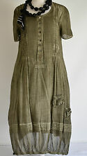 STUNNING GERMAN ZEDD.PLUS COTTON 2 PC DRESS & PETTICOAT SET SZ M/L moss