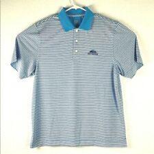 Cutter Buck Mens Medium Penn National Striped Polo Shirt Blue White Embroidered
