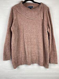 New $49 Karen Scott Women's Size 2X Sweater Pullover Pink Chenille Long Sleeve