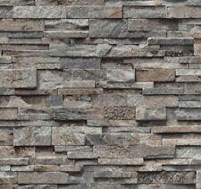 3D Dark Split Face Brick Slate Stone Effect Wallpaper Vinyl Washable Tile