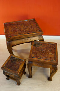 Side Table Set Wood Thai Furniture Dragon Elephant Carved Solid Wood Placemat