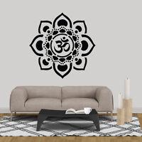 Mandala Om Lotus Wall Art Sticker Vinyl Decal Mural Decor Bedroom Aum Yoga India