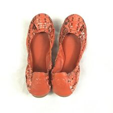 Tory Burch Women's Red Snakeskin Eddie Ballet Flats Leather Size 7.5