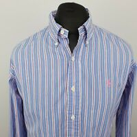 Polo Ralph Lauren Mens Shirt LARGE Long Sleeve Blue Custom Fit Striped Cotton