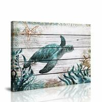 Green Sea Turtle Bathroom Wall Decor Ocean Sea Wall Pictures Artwork Painting