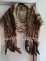 Vintage K. Bouyotopoulo Mink fur Wrap, Stole with Collar & Detachable Tails ~EUC