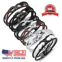 Men's Infinity and Braided Leather Bracelet