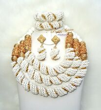 3 Layers Latest New Design Bridal White Gold Bridal African Jewellery Set