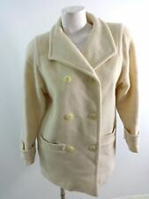 BERT NEWMAN WOMENS SIZE 2P OFF WHITE WOOL DOUBLE BREASTED PEACOAT COAT