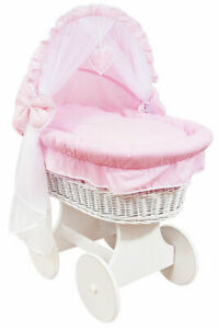 BABY FULL BEDDING SET WITH CANOPY TO FIT WICKER MOSES BASKET PINK