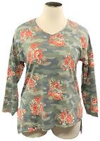LORALETTE by Avenue 1X Camouflage Long Sleeve Asymmetric Hem V-neck T-shirt