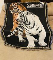 "VINTAGE THE RUG BARN Triple Woven blanket Throw Tapestry 53""x65"" SIEGFRIED & ROY"