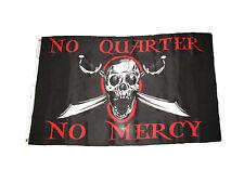 3x5 Jolly Roger Pirate No Quarter No Mercy Premium Poly  Flag 3'x5' Grommets