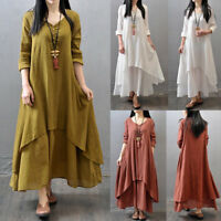 Fashion Women Peasant Ethnic Boho Cotton Linen Long Sleeve Maxi Dress Long Dress