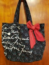 JUICY COUTURE Navy Blue Soft Canvas Red Bow XL Tote Travel Shoulder Bag SUPER!