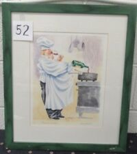 """Vintage 18x21"""" Framed Watercolor Art Titled Quality Control Chef Signed Bardwell"""