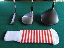 Knitted zebra style Fairway & Driver Golf Club head cover / Optic White / Orange