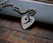 Hand Made Etched Guitar Pick Necklace - Bass Clef