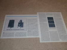 KEF 105 Speaker Review,1979, 2 pgs, Full Test, Rare!