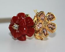 ALEXANDER MCQUEEN Mixed Floral Two Flowers Skull Ring Size 13 NEW $380