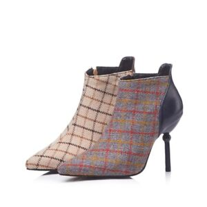 Ladies Girls Pointy Toe Plaid Chelsea Ankle Boots High Slim Heel Dress Shoes New
