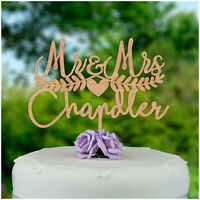 PERSONALISED Rustic Wooden Wedding Cake Toppers Mr and Mrs Cake Decorations