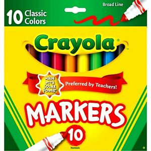 Crayola Classic Markers, Broad Line 10 Each  Arts & Crafts teachers chose new