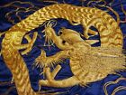 Vintage Japanese embroidered blue silk fabric, dragon