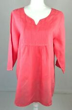Match Point Coral Pink Orange 100% Linen Pintuck 3/4 Sleeve Tunic Top Sz Large
