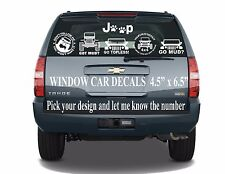 "JEEP  VINYL CAR DECALS 5.5"" X 6.5"" GREAT FOR CARS,TRUCKS, BOATS, LAPTOPS"