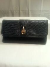 Gloria Vanderbilt Wallet Organizer Black Faux Leather Textured Checkbook Cards