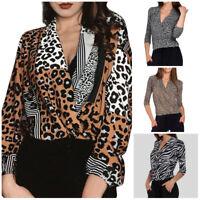 Women Summer Fashion Long Sleeve Loose Leopard Printed V-Neck Shirt Tops Blouse