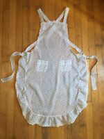 VTG Antique Bib Apron Stripe & Floral Print Fabric 1930s Sheer Cross Straps