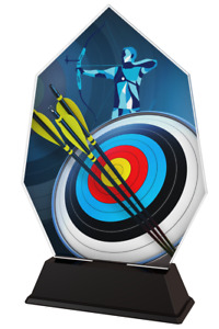 ARCHERY ACRYLIC 115mm TROPHY *FREE ENGRAVING* 3 SIZES AWARDS, LOW PRICE