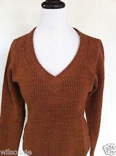 Isabelle Elie Atelier Boutique Women's V-Neck Brown Caramel Sweater Sz Large L