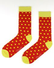 Mens Fashion Socks AUSTRALIAN Designed Owned Size40to46 Red & Yellow Polka Dot