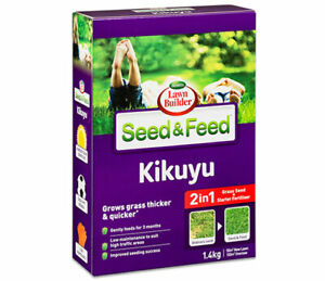 Scotts Lawn Builder 1.4kg Seed And Feed Kikuyu Grows grass thicker and quicker